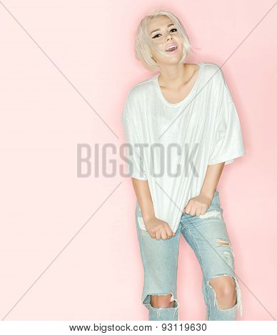 Woman With Short Hair Wearing In White T-shirt