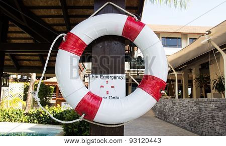 Lifebuoy Hanging On Pole