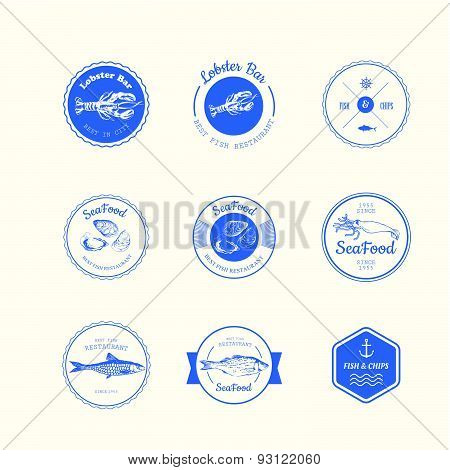 Vector Illustration With Logo For Fish Restaurant Or Fish Market.