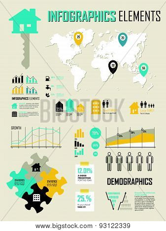 Vector Illustration With Info Graphics Elements In Yellow & Green Colors.