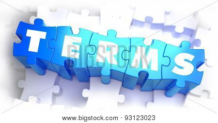 Terms - White Word on Blue Puzzles.