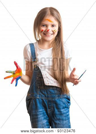 Laughing Girl With Painted Face Over White Background