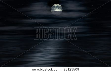 Moon Shines Over Water