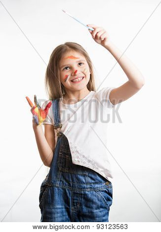 Girl Drawing In The Air With Paintbrush Over White Background