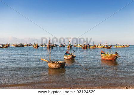 Fishing Village, Market And Colorful Traditional Fishing Boats Near Mui Ne, Binh Thuan, Vietnam.