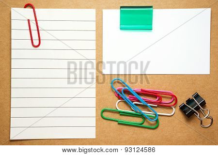Business Card And Note With Paperclips