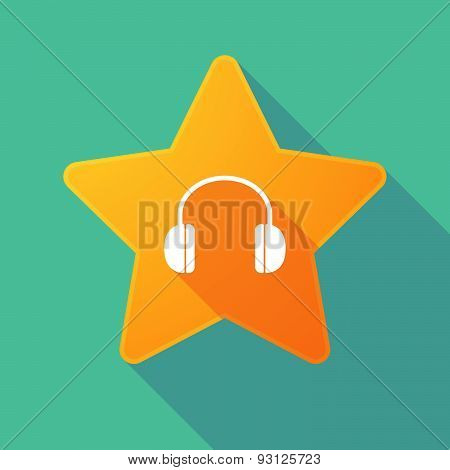 Star Icon With A Earphones