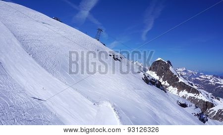 Angled View Of Snow Mountains Titlis And Cable Car