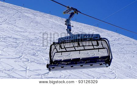 Empty Ski Cable Car Close Up At Snow Mountains Titlis
