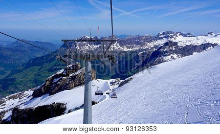 Ski Cable Car Structure At Snow Mountains Titlis