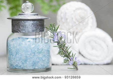 bath salts and rosemary branch
