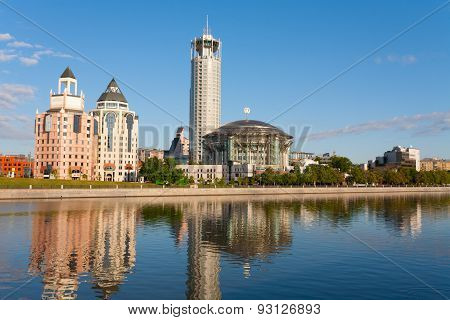 Moscow International House Of Music And Red Hills Hotel In Sunny Summer Morning