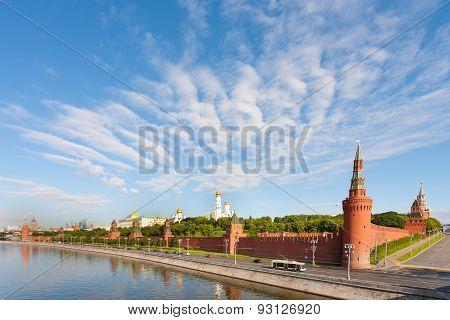 Moscow Kremlin On Moscva River Shore In Sunny Morning