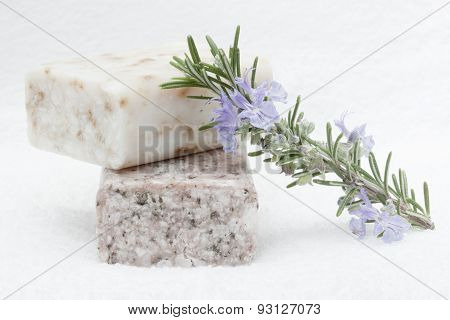 soap bars and rosemary branch