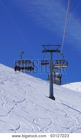 Suspended Ski Cable Car At Snow Mountains Titlis