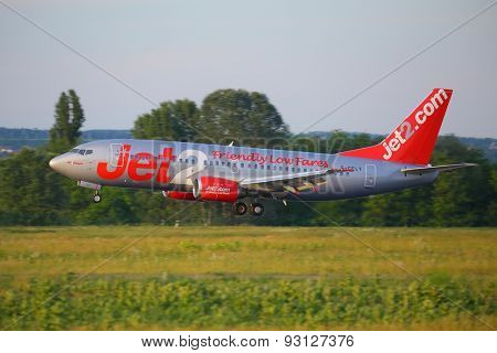 BUDAPEST, HUNGARY - MAY 27: Airliner of Jet2 at Budapest Liszt Ferenc Airport, May 27th 2015. Jet2.com is low-cost airline based in Leeds, England, opertaing 47 aircrafts.