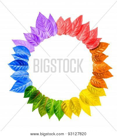 Concept Of Gay Culture Symbol, Lgbt Sign Is Isolated On White Background, Leaves