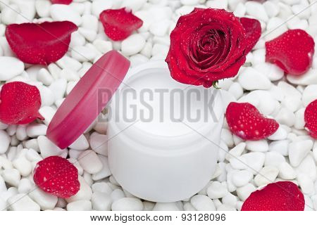 moisturizer surrounded by rose and petals