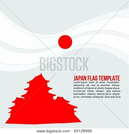 Abstract Japan flag wave and Matsumoto Castle, Nagano