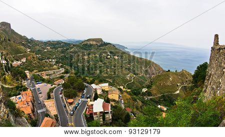 Magnificent view of sicilian coast from Castelmola in Sicily