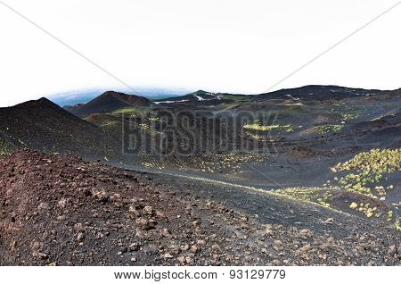 Mount Etna landscape with volcano craters in Sicily
