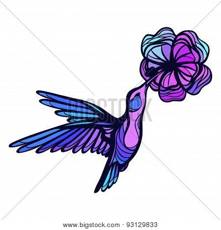 Flying tropical hummingbird on white background with flower
