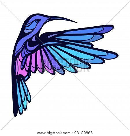 Flying tropical stylized hummingbird on white background