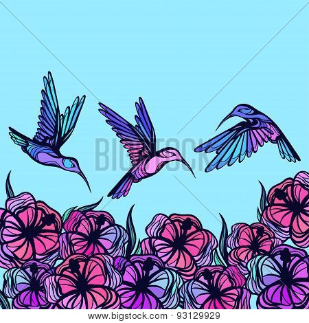 Flying tropical stylized hummingbirds with flowers background