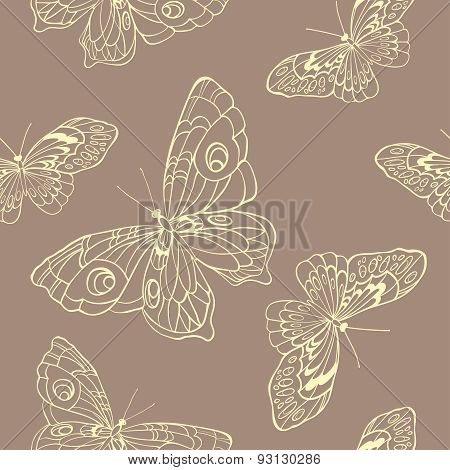 Seamless Background With Butterflies On Beige Background