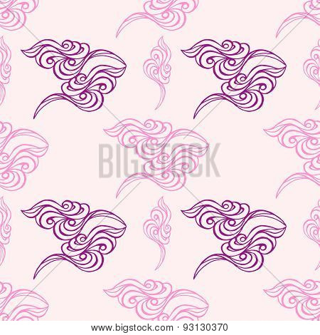 Hand Drawn Wave Tracery Pink Background, Seamless Pattern. Vector Illustration.