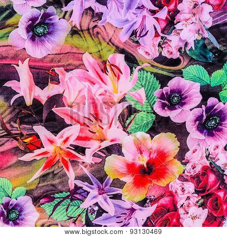 Texture Of Print Fabric Stripes Natural Flowers