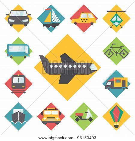 Transportation traveling icons set, flat design vector