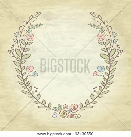 Spring Flower Laurel Branches. Hand Drawn Design Elements. Vector Textured Background