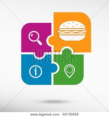 Hamburger Sign Icon On Colorful Jigsaw Puzzle