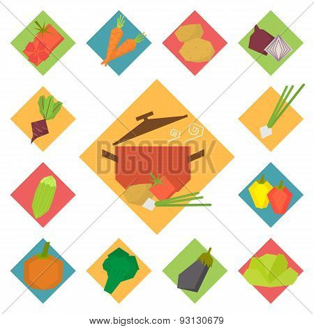 Vegetable vector food icons