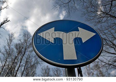 Fork Road Warning Sign.