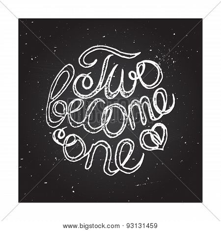 Hand-sketched typographic elements on chalkboard background for wedding design