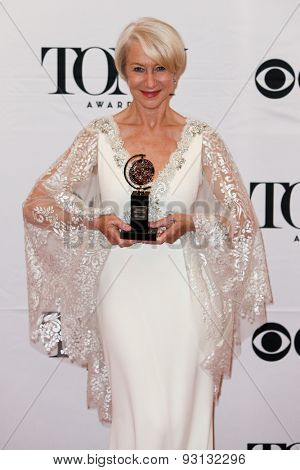 NEW YORK-JUN 7: Actress Helen Mirren holds the trophy for Best Lead Actress in a Play at the American Theatre Wing's 69th Annual Tony Awards at Radio City Music Hall on June 7, 2015 in New York City.