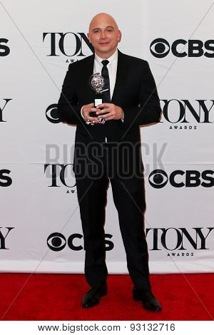 NEW YORK-JUN 7: Actor Michael Cerveris holds their trophy at the American Theatre Wing's 69th Annual Tony Awards at Radio City Music Hall on June 7, 2015 in New York City.