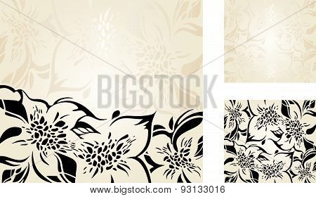 Beige floral holiday background set with gold and black ornaments