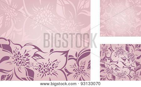 Pink floral decorative holiday background set