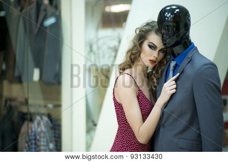 Misterious Woman And Mannequin