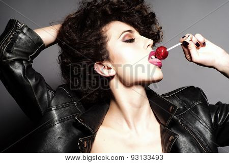 Passionate Girl With Lollipop
