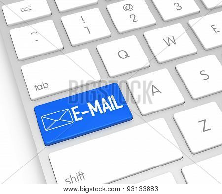 Computer Keyboard With E-mail Button. 3D Rendering
