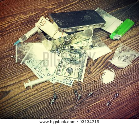 Vintage Toned Photo Of Drugs And Money.