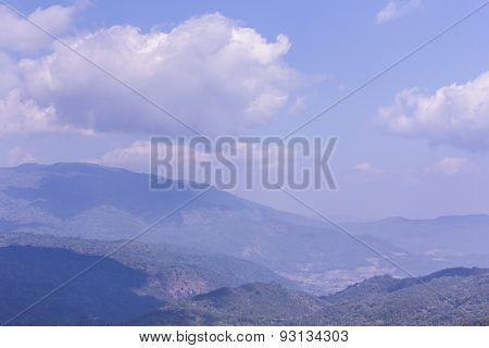 Mountain With Sky In Doi Inthanon, Chiangmai Thailand