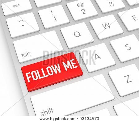 Computer Keyboard With Follow Me Button. 3D Rendering