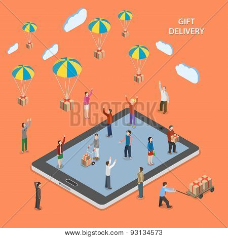 Gift delivery flat isometric vector illustration.