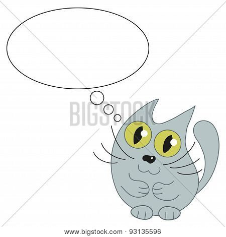 Cute cat and speech bubble for text