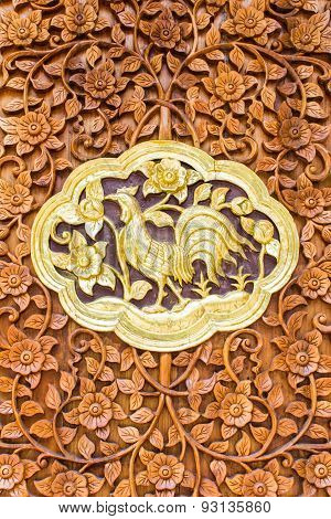 Chicken Wood Carving Wall Sculptures In Thai Temple